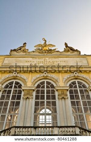 closeup of the gloriette, at castle schoenbrunn, vienna