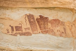 Closeup of the petroglyphs on the Temple Mountain Wash Pictograph Panel in Utah.