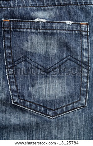 Closeup of the pocket on the blue jeans