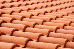 Closeup of the red clay roof tiles