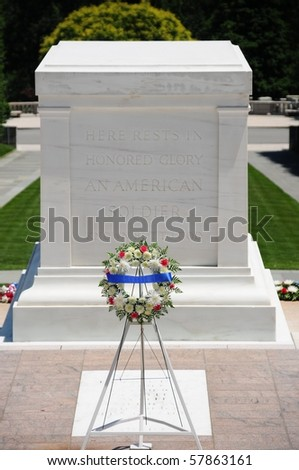Closeup of the Tomb of the Unknown Soldier with a garland standing in front