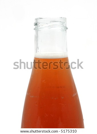 closeup of the top of an opened bottle of iced tea ready for drinking on a white background