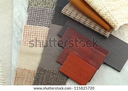 closeup of the upholstery texture color and wood samples,decoration planning