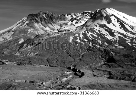 closeup of the volcanic crater of Mount St. helens in black and white