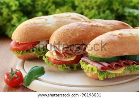 Closeup of three fresh sandwiches with turkey, salami and mozzarella