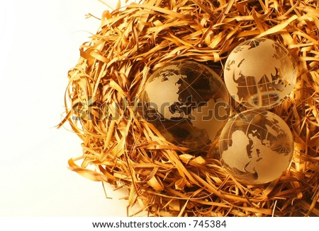 Closeup of three globes on a nest representing several continents under protection