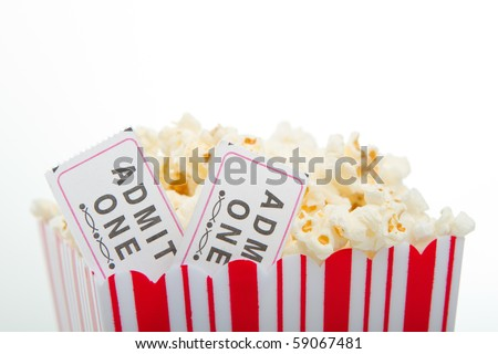 Closeup of tickets in popcorn