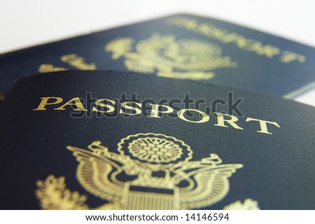 Closeup of two American passports, front view - stock photo