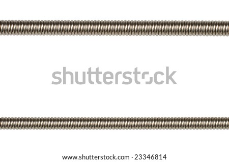 Closeup of two bass guitar strings isolated on white background