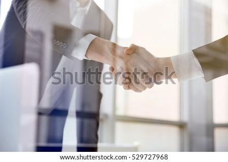 Closeup of two businessmen standing and shaking hands in office Stock photo ©