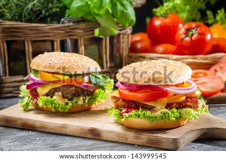 Closeup of two homemade hamburgers