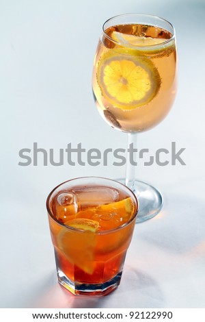 Closeup of two lemonade glasses.not isolated