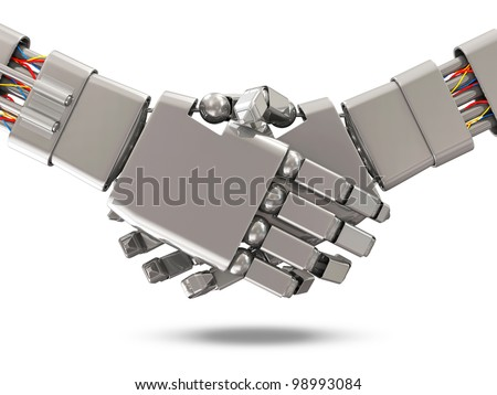 Closeup of two Robots Shaking hands isolated on white background