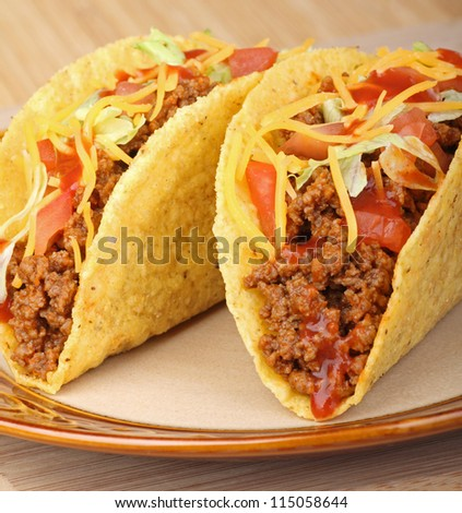 Closeup of two tacos on a plate