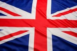 Closeup of UK British flag Union Jack flag background