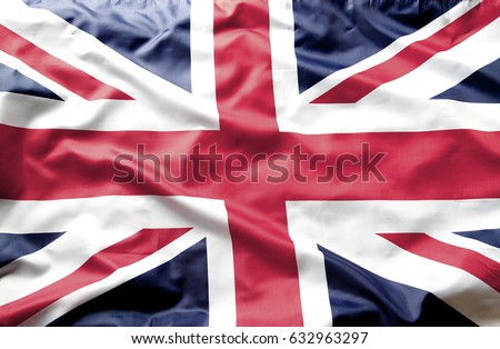 Closeup of Union Jack flag  #632963297