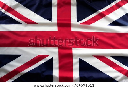 Closeup of Union Jack flag  #764691511