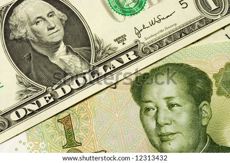Closeup of US and Chinese currency