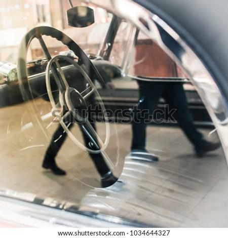 closeup of vintage car steering ...