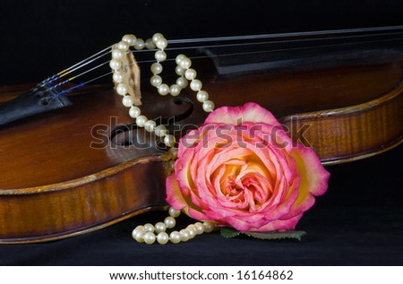 closeup of violin, rose and pearls