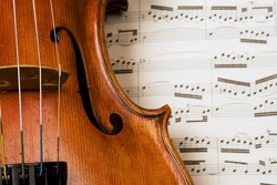 Closeup of violin with sheet music