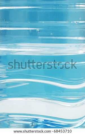 Closeup of water in blue pet plastic bottle with selective focus