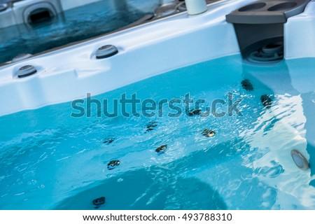 Closeup of water in hot bath tubs at spa Foto d'archivio ©
