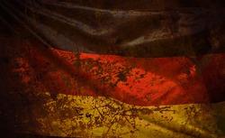 Closeup of waving grunged German flag