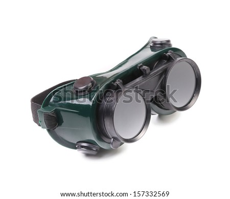 Closeup of welding glasses. Isolated on white background.