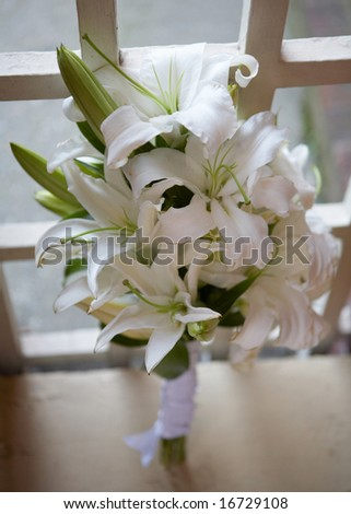 stock photo Closeup of white and green wedding bouquet of flowers