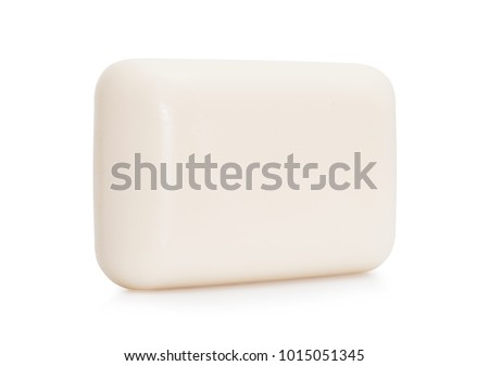 Closeup of white hygiene toilet soap isolated on white background