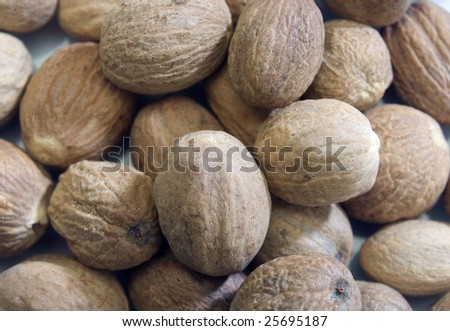 closeup of whole nutmeg