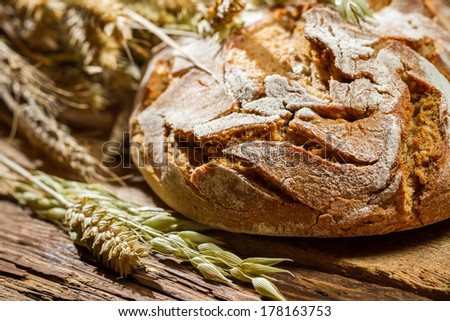 Closeup of wholemeal bread with cereal ears