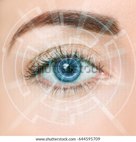 closeup of woman eye of the future with visual effects. Process of scanning. Futuristic modern cyber technology eye panel concept. Viewing digital information into blue iris #644595709