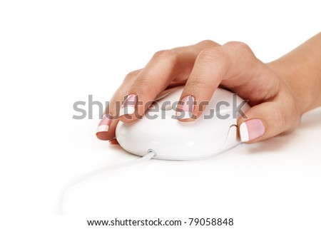 Closeup of woman hand holding mouse over isolated background