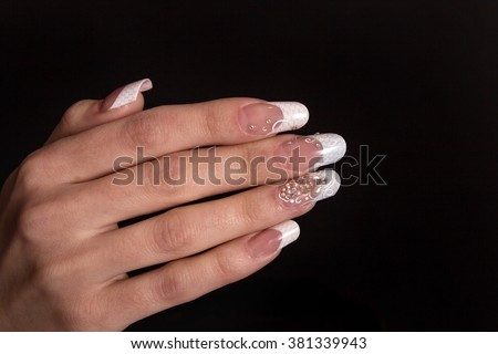 Popular free nail art trendy crackle nail polish in black closeup of woman hand with nail design trendy crackle nail polish manicure and nail prinsesfo Image collections
