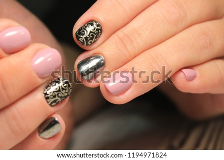 Free Photos Nail Art Trendy Crackle Nail Polish In Black Manicure