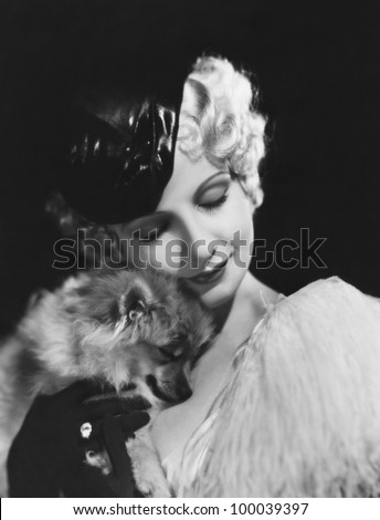 Closeup of woman with dog