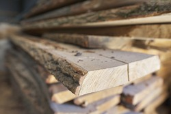 Closeup of wood at woodworking carpentry workshop.