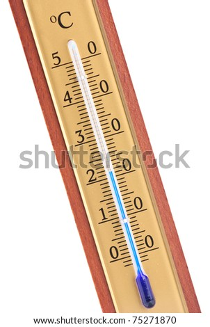 Closeup of wooden celsius thermometer isolated against a white background