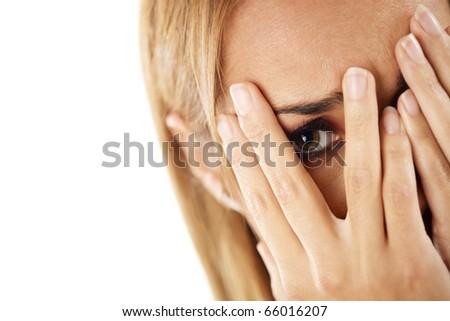 closeup of worried caucasian woman on white background. Horizontal shape, headshot