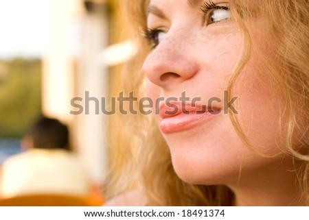 Closeup of young beautiful girl face