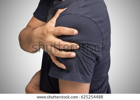Closeup of young shirtless man with shoulder pain, Upper arm pain, People with body-muscles problem, Healthcare And Medicine concept #625254488