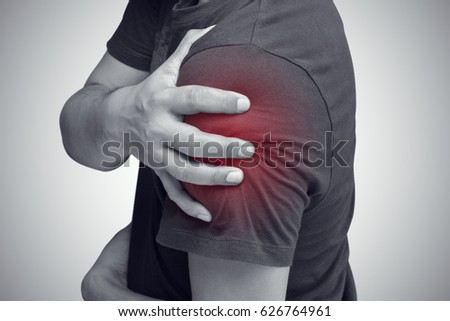 Closeup of young shirtless man with shoulder pain, Upper arm pain, People with body-muscles problem, Healthcare And Medicine concept #626764961