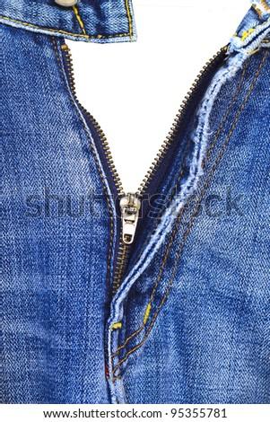 Closeup of zipper in blue jeans. Denim texture with open zipper