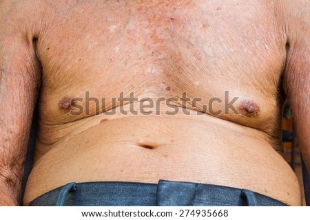 closeup old man chest and big belly with texture of wrinkle skin