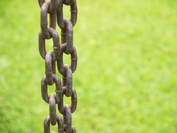 Closeup old steel chain