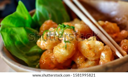 closeup on a dynamite shrimps fresh dish served in a fancy decoration Stockfoto ©