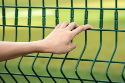 Closeup on a female hand holding a mesh wire fence