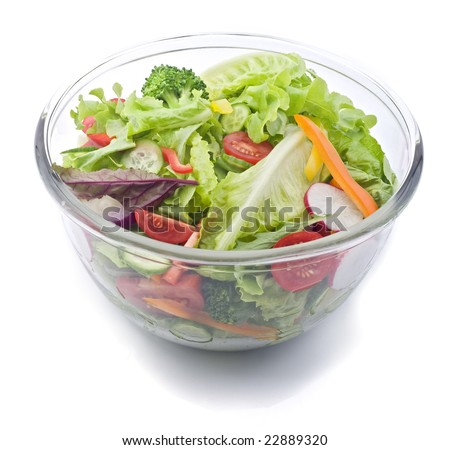 closeup on a fresh salad bowl.